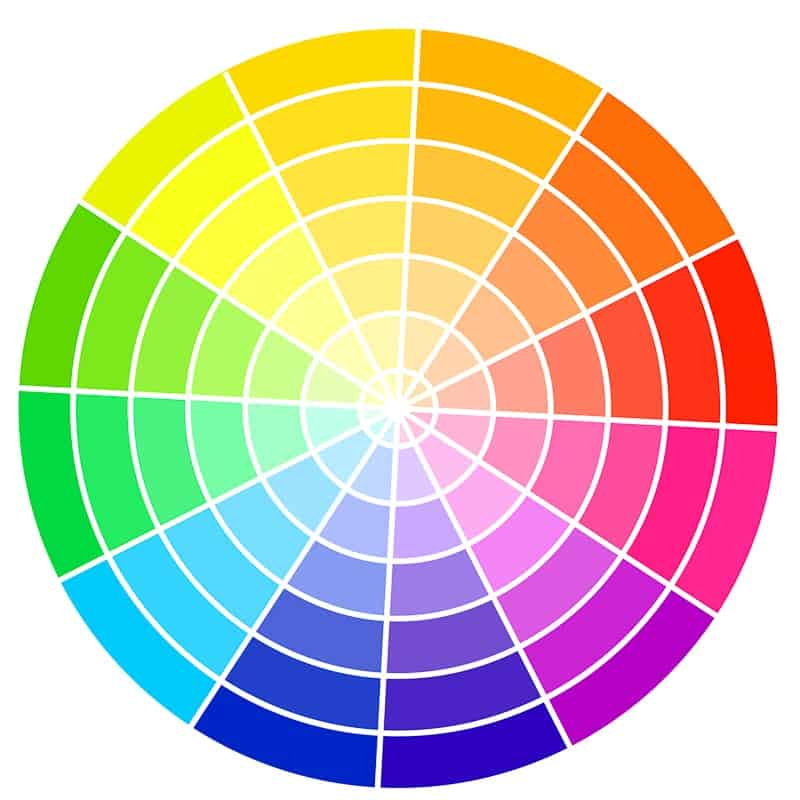 Color chart for photography composition using color