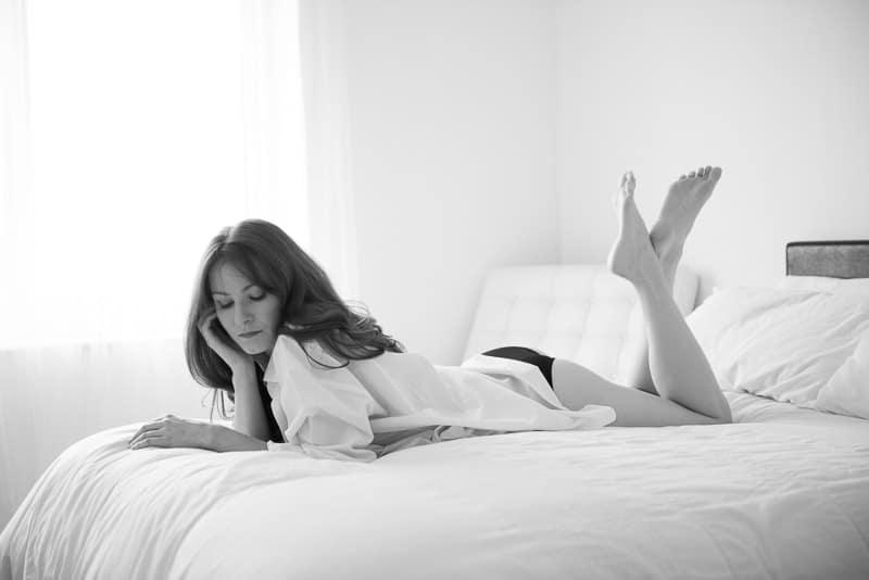 High key black and white boudoir photography