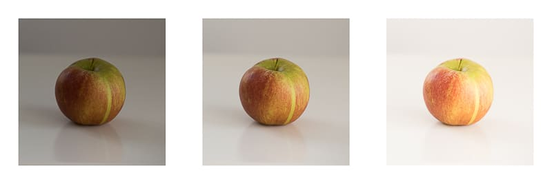Automatic exposure bracketing of an apple
