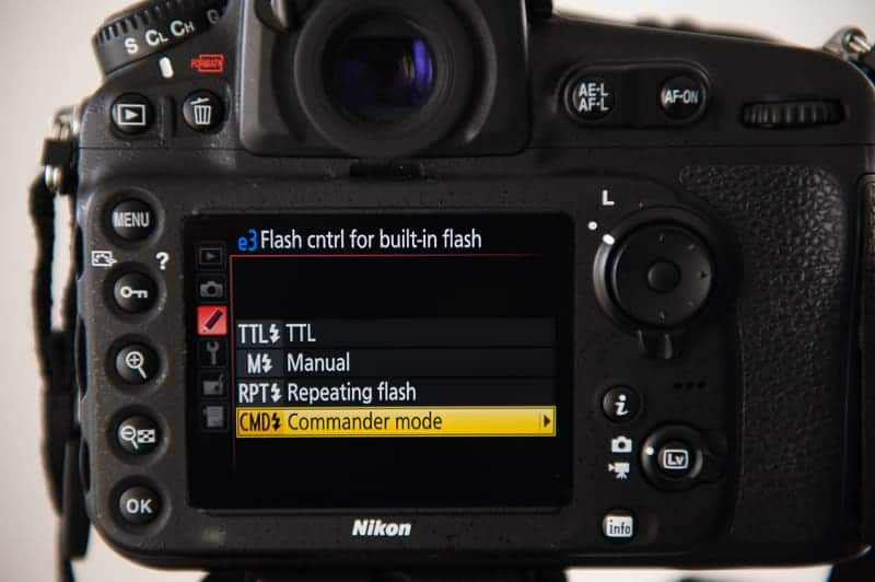 Nikon control settings for pop up flash