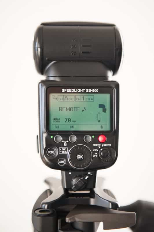 Nikon speedlight set to remote for off camera flash