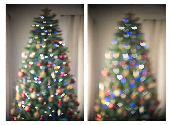 Out of focus Christmas tree with heart shaped bokeh filter
