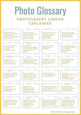 Photography jargon cheat sheet for beginner photographers