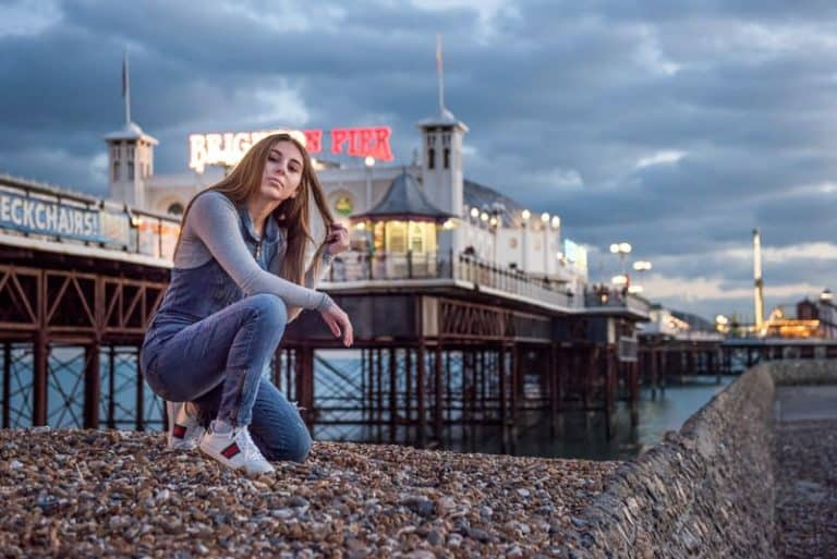 Blue hour portrait photography with city lights