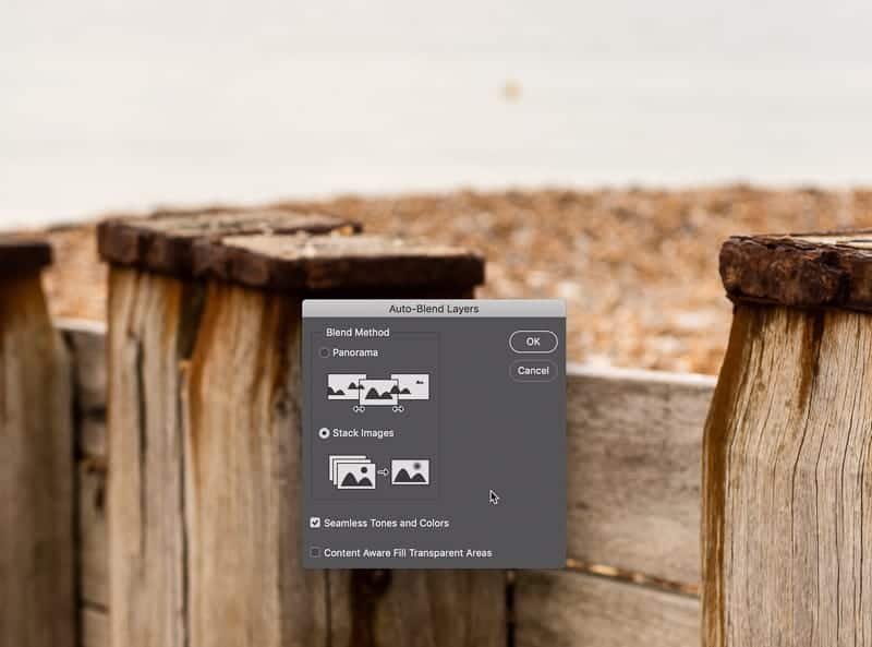 How to stack focus bracketed photos in Photoshop