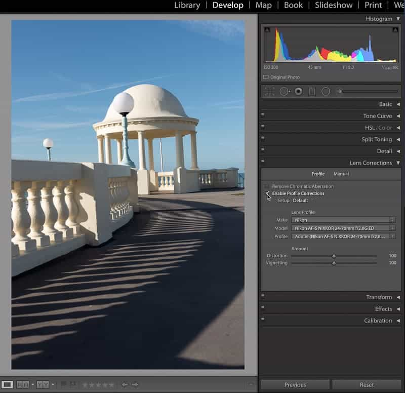 Fixing vertical lines in Lightroom