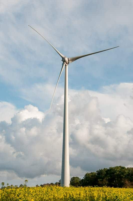 Wind turbine in portrait orientation dominates photo