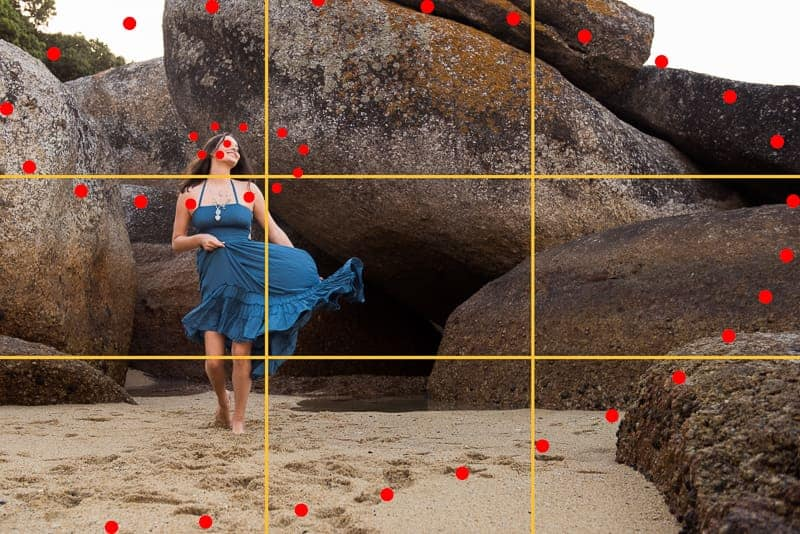 Placing focal point on rule of thirds or golden ratio