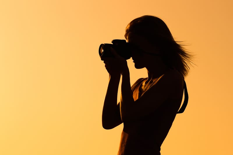 Focal point is silhouetted against bright background