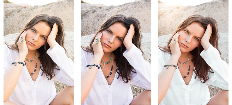Three versions of the same photo with different color processing