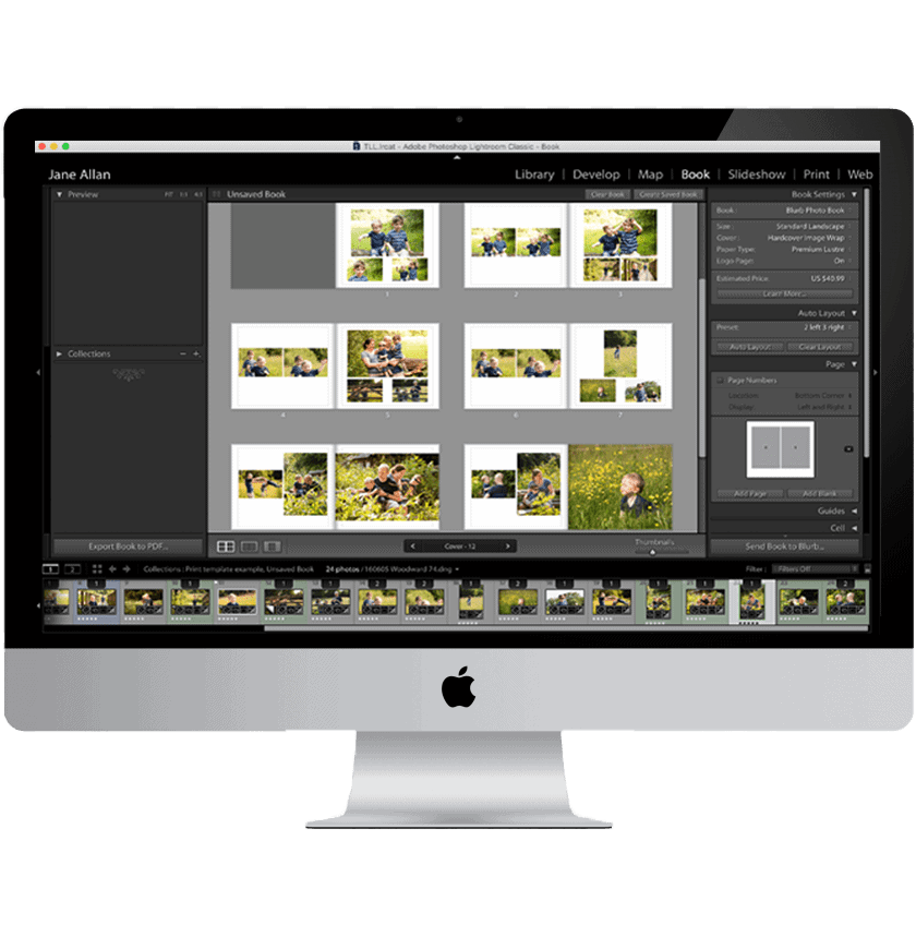 How to design an album in Lightroom on a computer