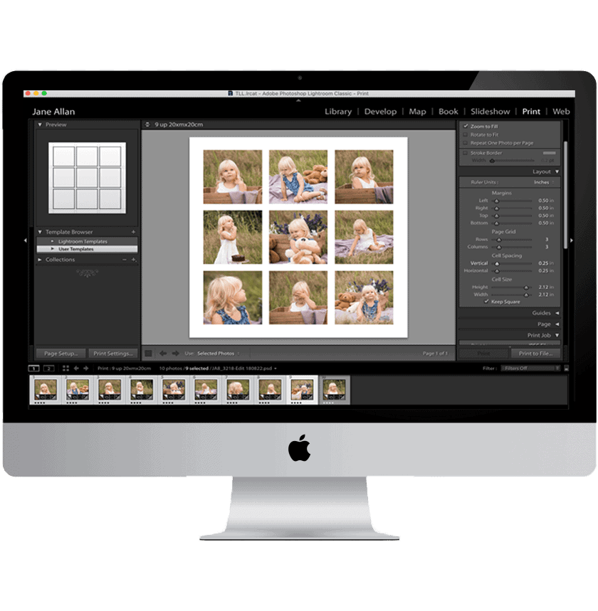 How to create a print template in Lightroom on a computer