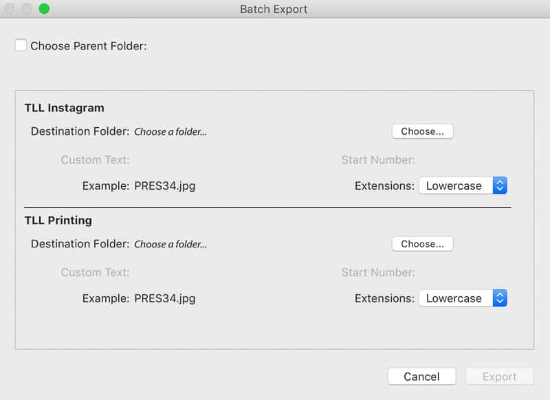New batch export preset dialog box in Lightroom Classic update