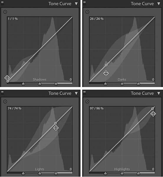 Tone curve regions
