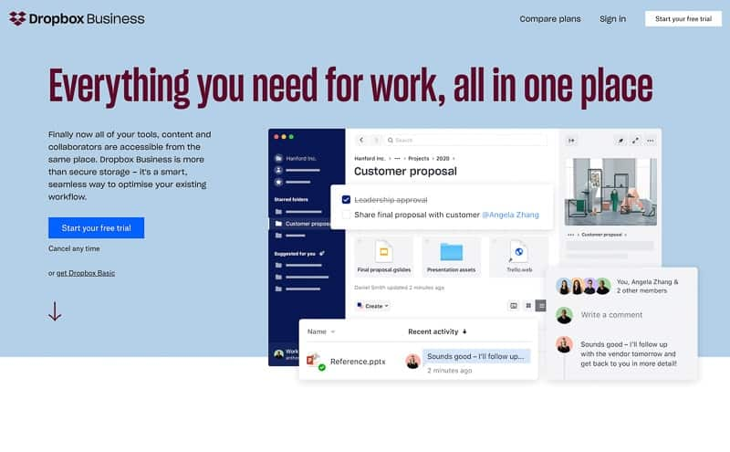 Dropbox photo sharing app professional and personal