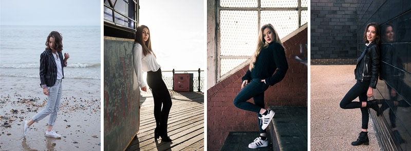 Full length portrait poses from the side
