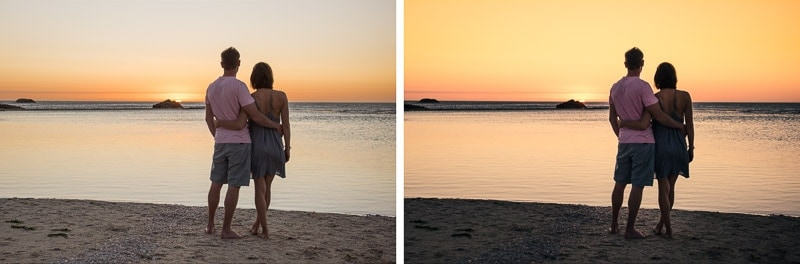 Before and after graduated filters