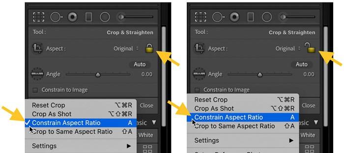 Shortcut to constrain crop ratio in Lightroom