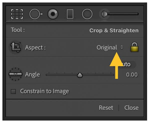 Open cropping ratio options