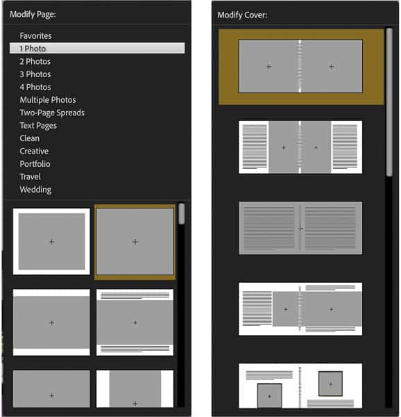photo book page and cover layouts