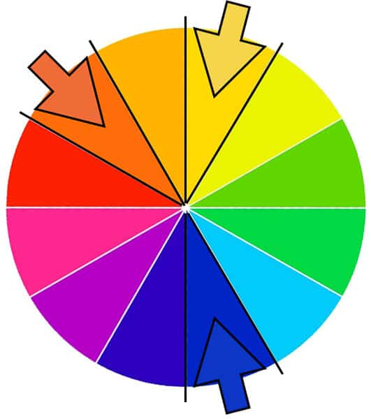 Example of split complementary colors